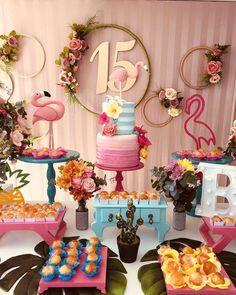 Uma festa linda de 15 anos inspirada no tema Flamingos 💕 #inspiresuafesta #bloginspiresuafesta . Por @noquintalfesta - Hoje teve 15 anos para a Barbara no flutuante, tema lindo e colorido! #15anos #festanoflutuante #noquintal #flamingo #festatropical #festalinda - #festade15anos #15anosisf #15anosflamingo Hawaiian Birthday, Luau Birthday, Flamingo Birthday, Flamingo Party, 15th Birthday, Birthday Party Themes, Pool Party Decorations, Quinceanera Decorations, Birthday Decorations