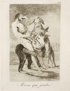 "Francisco de Goya: ""Miren que grabes!"". Serie ""Los caprichos"" [63]. Etching, aquatint and drypoint on paper, 212 x 162 mm, 1797-99. Museo Nacional del Prado, Madrid, Spain"
