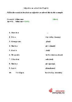 Exercitii de gramatica - limba engleza Adverbs