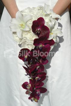 Rose and Orchid Bouquet | ... Peony Cascading Wedding Bouquet with Easter Lilies and Purple Orchids