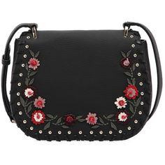 Kate Spade New York Women Tressa Floral Appliqués Leather Bag (27.735 RUB) ❤ liked on Polyvore featuring bags, handbags, shoulder bags, black, floral handbags, kate spade handbags, studded shoulder bag, floral leather handbags and tassel purse