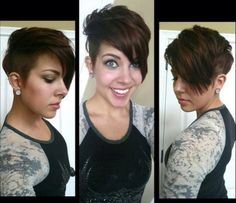 I'm in love with this adorable undercut pixie haircut with long bangs!
