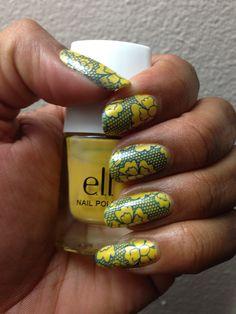 Elf color Yellow, Stamping Polish home made for myself color Indigo Blue & Plate VL-03