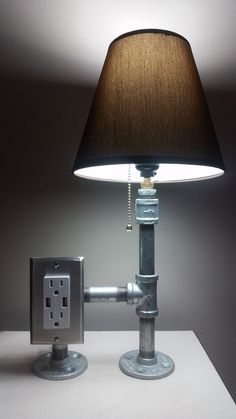 http://www.kitchenstyleideas.com/category/Desk-Lamp/ Industrial Steel Desk Lamp with Tamper Resistant Plug and USB Power