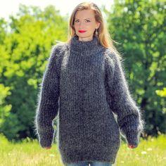 Grey hand knitted mohair sweater ribbed turtleneck gray soft pullover SUPERTANYA #SuperTanya #TurtleneckMock