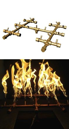 Warming Trends Crossfire Brass Burner 250K BTUs - LP Outdoor Fire Table, Deck Table, Outdoor Pergola, Fire Pit Parts, Fire Pits, Diy Propane Fire Pit, Landscaping With Fountains, Fire Pit Materials, Glass Fire Pit