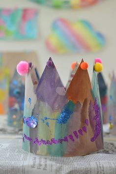 make beautiful crowns from recycled paper bags ~ open-ended art project for littles