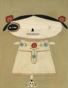 Pop Modern Art, Folk Art Print (La Muerta) from junker jane etsy shop