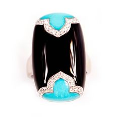 Art Deco Style Turquoise, Onyx and Diamond Ring set in 18ct white gold.
