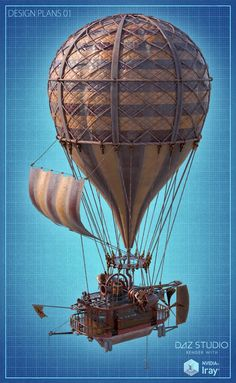A beautifully detailed Steampunk Hot Air Balloon, complete with modular parts to customize the balloon further. A fun preset to turn the balloon into a Steampunk Boat is also included. Dirigible Steampunk, Steampunk Airship, Air Ballon, Hot Air Balloon, Ballon Illustration, Punk Decor, Balloon Modelling, Steampunk Design, Recycled Art