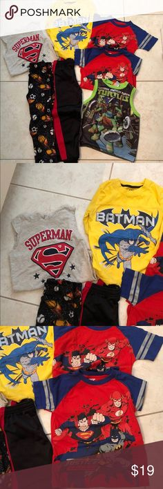 Boys bundle clothes 5/6 Some are new without tags and some are used , brand are Spider-Man, Superman, Batman, justice league, Nickelodeon turtles, open trail , 2 T-shirt, 2 sleeveless shirt, 1 long sleeve, 1 sweat pants, 1 Sleepwear pants size 6/7 , 7 total pieces of clothes, I can bundle to save on shipping thanks for checking out my closet Other