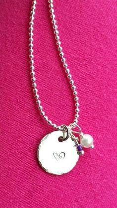 """heart"" with purple n pearl charm"