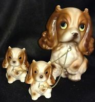 Vintage King Charles Spaniel Mother Dog And Puppies On Chains Figurines-Japan