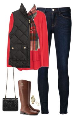 J.Crew quilted vest, bright red top & Ralph Lauren scarf by steffiestaffie on Polyvore featuring polyvore, moda, style, Violeta by Mango, J.Crew, Frame Denim, Tory Burch, FOSSIL and Polo Ralph Lauren