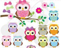 Cute Owls Digital Clipart Elements Set NO.AN021