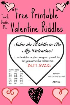 FREE Printable Valentine's Riddle Cards