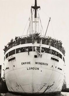 The 'Empire Windrush' arriving in London, England in 1948.  Half the island went to London on this...:)