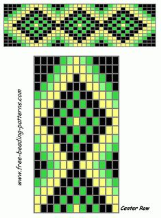 free beading patterns | free-beading-patterns-barrette-green-diamonds