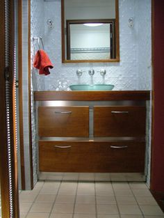 Pressed tin panel bathroom splashback