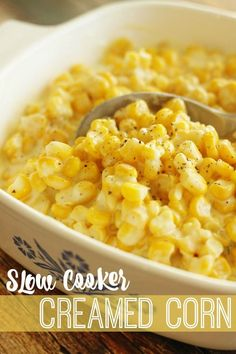 This slow cooker creamed corn is the perfect side dish. A favorite for Thanksgiv… This slow cooker creamed corn is the perfect side dish. A favorite for Thanksgiving! You will love the creamy, sweet, & savory combination of flavors. Corn Recipes, Side Dish Recipes, Veggie Recipes, Dinner Recipes, Vegetarian Recipes, Drink Recipes, Bread Recipes, Chicken Recipes, Recipes