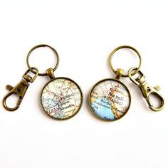 Personalize a set of vintage map keychains with one or two special locations / Long Distance Boyfriend Gift / Valentines Gifts for Him / long distance gift ideas / long distance family gifts / long distance frienship gifts / map themed gifts / by salvagedstudiomke on Etsy