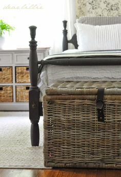 Trunks from Ikea at the bottom of the bed. Adds extra storage for blankets and pillows.