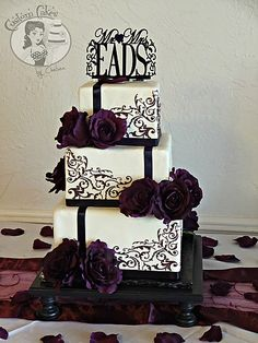 Eggplant / plum and black wedding cake - Scrollwork wedding - Custom Cakes by Chelsea