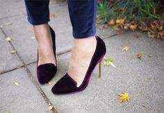 purple velvet loafer heels. YES
