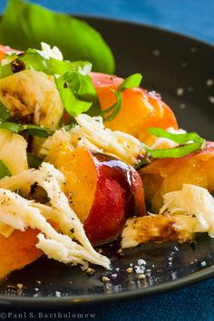 Peaches, Smoked Mozzarella and Basil with Balsamic Reduction