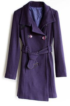 Purple Lapel Belted Worsted Trench Coat