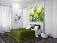 Green White Nature Bedroom At Modern Zoning Apartment Design In Ukrainian