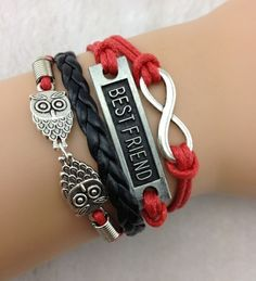 best friend owl infinite leather bangle,shop cheap fashion jewelry at www.favorwe.com