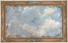 Design for Salon Ceiling, Hôtel Candamo Sky Ceiling, Ceiling Murals, Home Ceiling, Ceiling Design, Sky View, Classic Image, I Wallpaper, Watercolor And Ink, Aesthetic Wallpapers