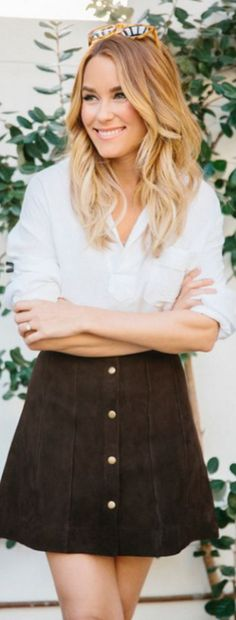 Lauren Conrad: Shirt – Smythe Skirt – Frame Denim Sunglasses – Westward Leaning