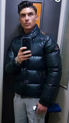 Cool Jackets, Winter Jackets, Mens Down Jacket, Pvc Raincoat, Cute White Boys, Hot Boys, Overalls, Mens Fashion, Sexy
