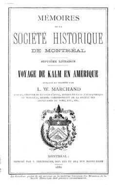 """""""Voyage de Pehr Kalm en Amerique"""""""
