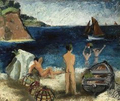 Bathers by the Sea, Tréboul, 190 - by Christopher Wood (1901 - 1930), UK