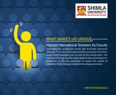 In an endevour to provide International exposure to its students in terms of education, Shimla University - AGU, Shimla invites intellectuals and renowned academicians from top Universities across the globe to interact with the students.  Explore more at http://bit.ly/20l91js or call at +91-9816222000, 18004198654 (Toll Free).