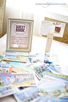 Post card guest book