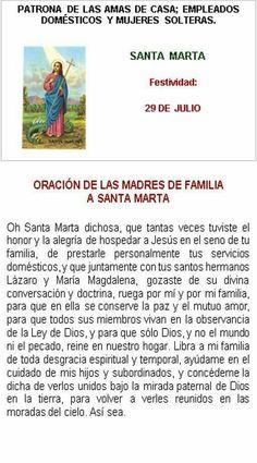 Santa Marta, patrona de las amas de casa.