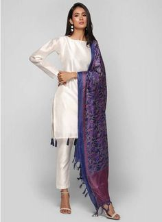 This ivory dupion shift dress features tassels details on hemline. It is paired with silk kantha pr. Pakistani Fashion Casual, Pakistani Outfits, Indian Outfits, Indian Fashion, Indian Dresses, Indian Attire, Indian Wear, Indian Designer Suits, Kurta Designs Women