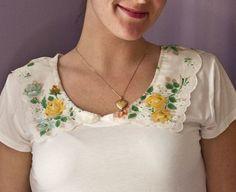きれいな縁取りを活かして、シンプルなカットソーの襟口に縫い付ければ、フェミニンなブラウスに変身。