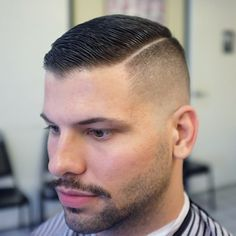 High fade and sharp part