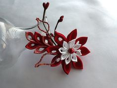 Red Hair Clip  Red and White Kanzashi Flower  by LihiniCreations, $14.00