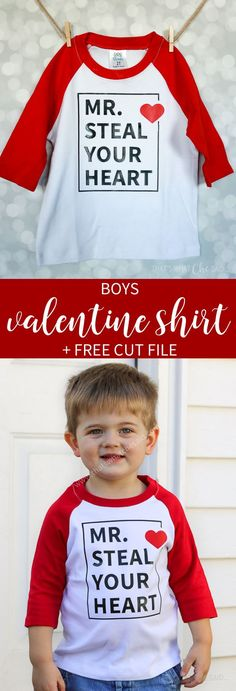 A fun and cute valentines shirt idea for the boys! As a boymom it's always a struggle to find cute boy stuff so I made my own and am sharing with you! via day shirts Boys Valentine Shirt Design + Free Cut File Valentine Shirts, Valentines For Boys, Valentine Ideas, Valentine Cards, Vinyl Shirts, Kids Shirts, Diy Valentine's Shirts, Valentinstag Shirts, Shilouette Cameo