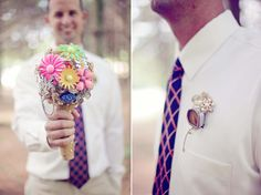 love the vintage brooch bouquet and boutonnieres