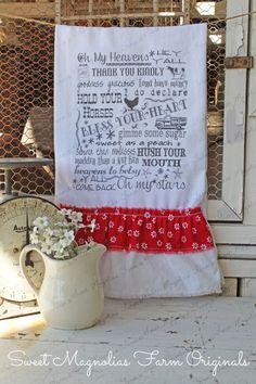 Flour Sack Kitchen Towel - Farmhouse Country Style Ruffle Farm Cottage  - SOUTHERN SAYINGS - Typography Subway Art Collage