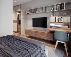 42 Fabulous Modern Bedroom Interior - 2020 Home design Bedroom Design Inspiration, Modern Bedroom Design, Home Office Design, Home Interior Design, Design Ideas, Bedroom Designs, Modern Bedrooms, Contemporary Bedroom, Bedroom Tv Unit Design
