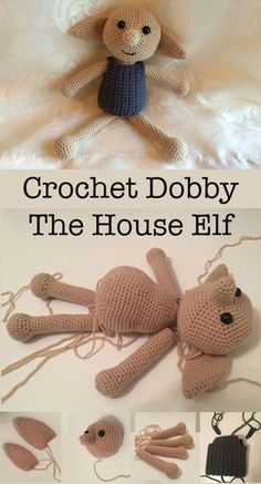 Crochet Diy How to Crochet Dobby The House Elf Doll - In this article I will be giving you a free crochet pattern to make your very own crochet Dobby toy. Crochet toys also available to order. Crochet Doll Pattern, Crochet Patterns Amigurumi, Amigurumi Doll, Crochet Dolls, Knitting Patterns, Crochet Doll Clothes, Crochet Stitches, Easy Knitting Projects, Crochet Projects
