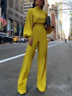 casual look Fashion Bishop Sleeve Pure Colour Half Collar Jumpsuits Look Fashion, Fashion Outfits, Womens Fashion, Office Fashion, Elegant Fashion Style, Sexy Classy Style, Fashion Styles, Fashion Fashion, Fashion Ideas